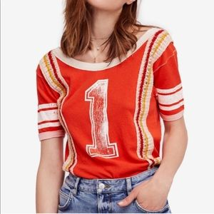 Free People First Place Crochet Graphic Sports Tee